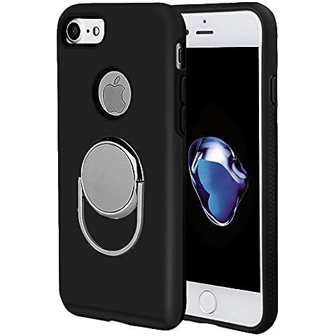 iPhone 7 Anello caso del basamento con pezzo di metallo per magnetico Montatura da auto, 360 ° di rotazione l'anello di barretta Grip / Stand Holder / Cavalletto Anti-Drop copertura protettiva antiurto per Apple iPhone 7 4.7 pollici (iPhone 7, Nero con Magnetico)