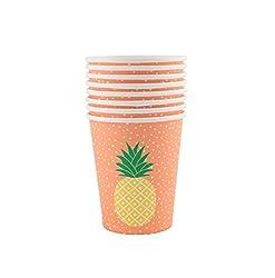 Set Of 8 Tropical Summer Pineapple Paper Cups :Par008