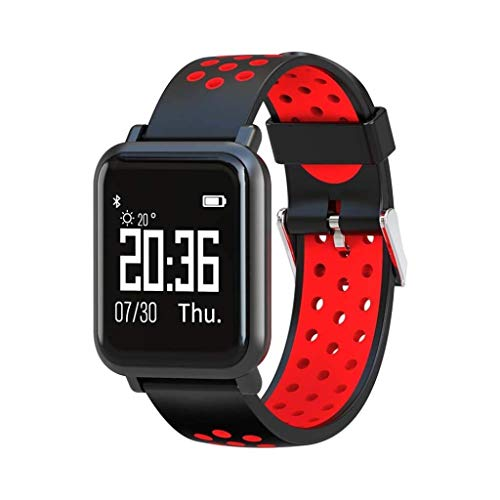 Lg-jz Smart Watch Smart Bracelet Ip68 Waterproof Real-time Heart Rate Monitoring Blood Pressure Blood Oxygen Long Standby 60 Days Metal Shell Bracelet (color : Black Frame+Black Red Strap)