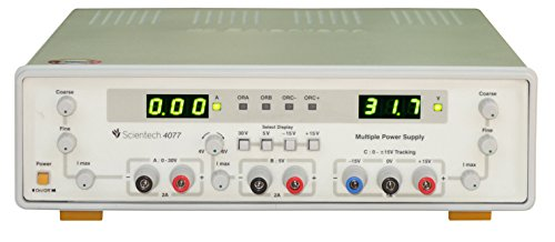 Scientech 4077, 0-30V / 2A, ±15V / 1A Tracking, 5V/2A Multiple DC Power Supply 1 Years Warranty