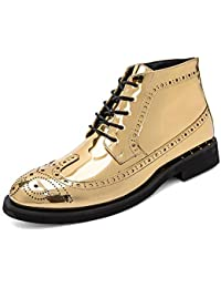 GLSHI Men Brogue Casual Shoes New Four Seasons Pointed Derby British Retro Dress Shoes Comfortable Wedding Shoes