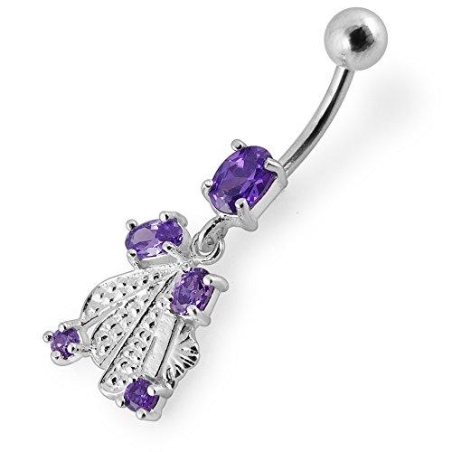 Barres de Pierre en cristal fantaisie tendance Design 925 argent Sterling avec le ventre en acier inoxydable Purple