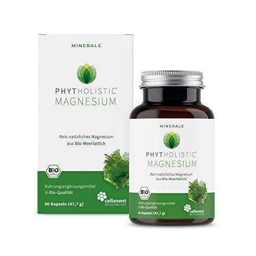 BIO-Magnesium phytholistischer Magnesiumextrakt: rein natürlich aus Bio-Algen - vegan: rein pflanzliches Magnesium OHNE künstliche Zusätze - 90 Magnesium Kapseln von Cellavent Healthcare