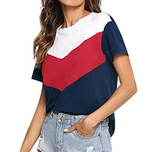 iHENGH Damen Top Bluse Bequem Lässig Mode T-Shirt Frühling Sommer Blusen Frauen Farbblock Kurzarm Lässiges Tunika Tops