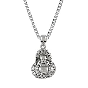 Sarah laughing buddha pendant necklace for men silver amazon sarah laughing buddha pendant necklace for men silver aloadofball Image collections