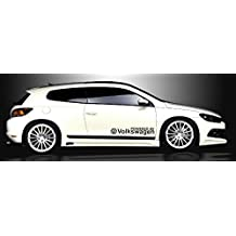 2x VW Volkswagen alimentado por lado Decor Aufkleber adhesivo de vinilo 60x 10cm Logo ventana Die Cut Auto coche Polo, Passat, Scirocco, Golf GTI, Beetle, Phaeton, Tuareg