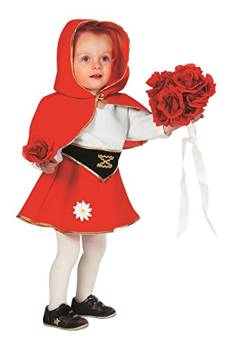 Rotkäppchen Klein-Kinder Kostüm rot weiß Fantasy Märchen Karneval Fasching Theater Hochwertige Verkleidung Fastnacht Größe 86 Rot (Deluxe Rotkäppchen Kostüm Kleinkind)