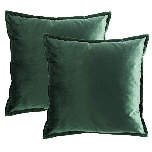 Bedsure Fundas de Cojín Decorativas Verde Oscuro Terciopelo Cuadradas 2 Pack...
