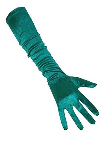 PartyXplosion Damen Handschuhe Elegante ca. 48cm lange Satin Handschuhe Karneval (Lange Grüne Handschuhe)