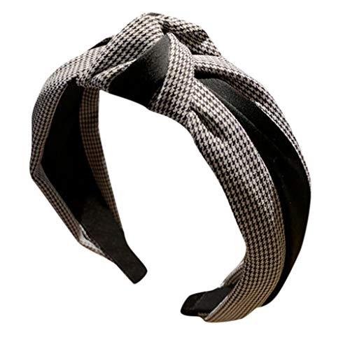 CANDLLY Stirnband Damen, Kopfbedeckung Zubehör Frauen Gestreiftes Karierten Leopard Bogen Stirnbands Haarband Haargurt Zubehörs Kopfschmuck (Schwarz-1,One size)