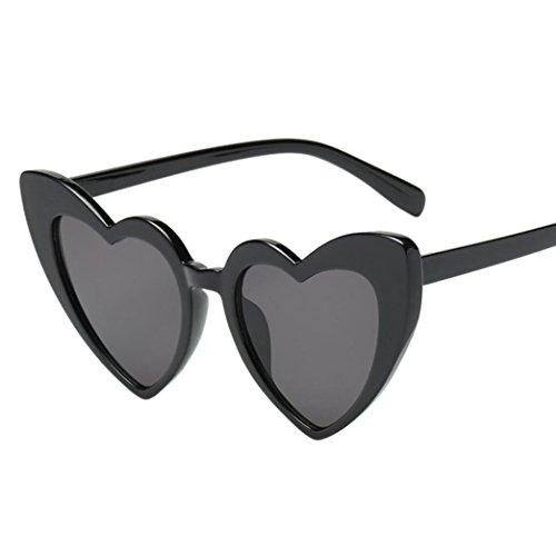 Makefortune Frauen Sonnenbrillen, Frauen Retro Fashion Heart-shaped Shades Damen Sonnenbrille Integrierte UV-Brille (E)