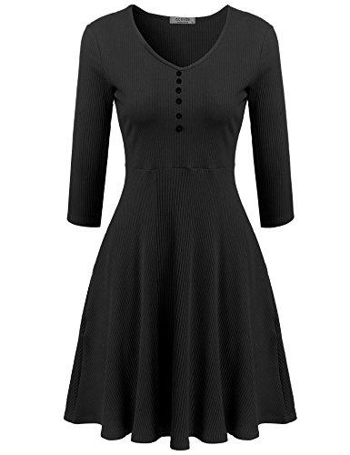 Meaneor Damen 3/4 Ärmel Kleid Tailliertes Swing Kleid Cocktailkleid Knielang Herbstkleid Strickkleid mit V-Ausschnitt