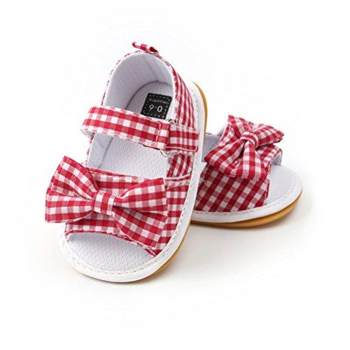 ATEENY Sandali da Bambina, Bowknot Scarpe per Neonata Estive Scarpine Primi Passi (6-12 Mesi, Rosso)