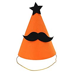Phenovo Funny Halloween Party Felt Cone Hat Fancy Dress Ghost/Pumpkin/ Mustache/Spider - mustache
