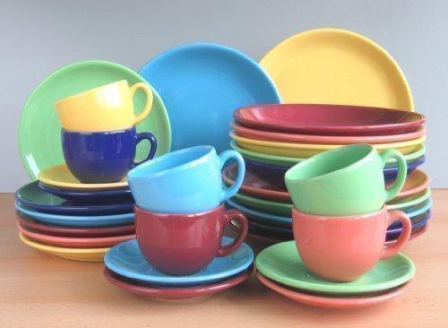 Bunt 6 Farben Dekor Tafel Kaffee Service 60 teilig Neu Set 12 Personen Steinzeug Keramik Geschirr