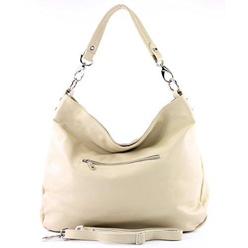 Schultertasche de Nappaleder Damentasche T121 ital modamoda Ledertasche Elfenbein Leder Shopper Nappaleder aPTqqXC