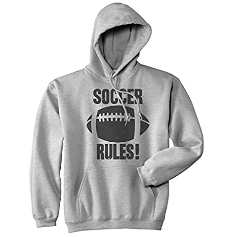 Crazy Dog TShirts - Soccer Rules Sweater Cool Sports Funny Graphic Football Novelty Shirts Hoodie (Grey) M - Homme