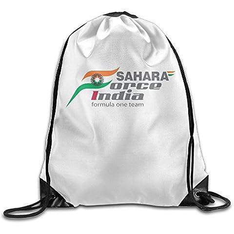 Canace India F1Team Logo deportes al aire libre cordón bolsas mochila, Blanco, talla única