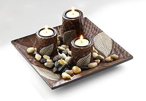 Dekoschale mit drei Kerzenhalter aus Holz