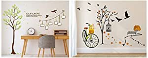 Amazon Brand - Solimo Wall Sticker for Living Room(Ride Through Nature, Ideal Size on Wall: 140 cm Wall Sticker for Living Room (Memories, Ideal Size on Wall:126 cm x 143 cm) Combo