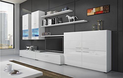 Home Innovation- Ensemble de Meubles Salon, unité Murale, Meuble Bas TV, Salle à Manger, Ensemble de séjour Contemporain avec ilumination LED, Blanc Laqué et Blanc Mate, Dimensions : 300x189x42cm.