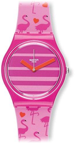 Swatch Damen Analog Quarz Uhr mit Silikon Armband GP144 - Miami Peach