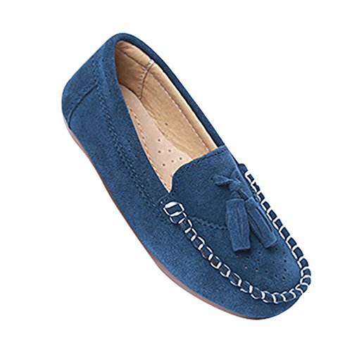 CHENGYANG Filles Garçon Mignonne Flâneur Chaussures Doux Mocassin Plates Chaussure Bateau Bleu