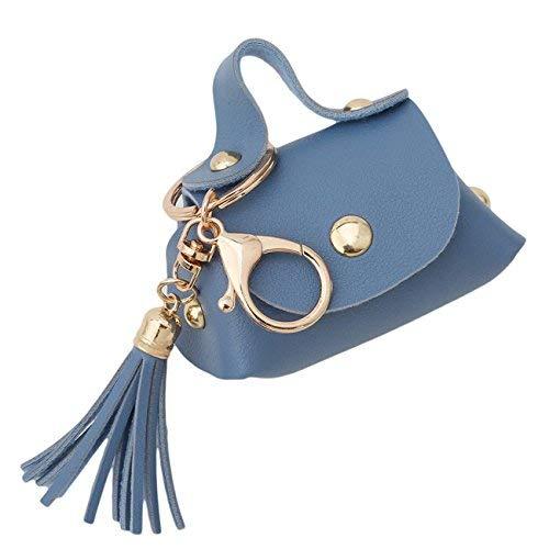 LOVEYOU Student Damen Brieftasche Schlüsselbund Frauen Mini Quaste Schultasche Geldbörse Leder Tasche Mini Brieftasche Schlüsselanhänger (Color : Navy blau)