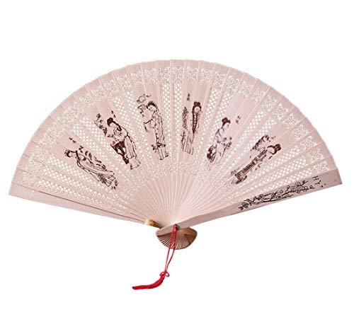 Syeytx chinesischen traditionellen hohlen Fan weiblich Faltfächer Handwerk Fan aus Holz handgefertigt Exquisite Faltung Hochzeitsgeschenk Wandventilator, Hochzeit, Party, Tanz, Karneval Dekor