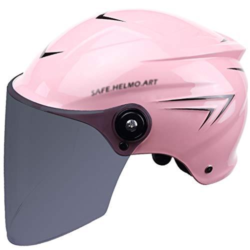 CXQBYNN Fahrradhelm, Männer Und Frauen Elektrischer Motorradhelm Sommer Sonnenschutz Männliche Schutzhelm Batterie Auto Damen (Color : Pink Black)