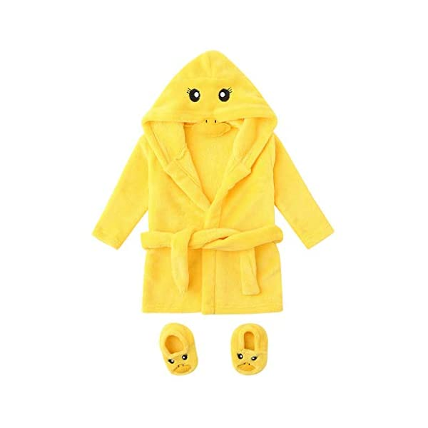 QinMM 0-12M bebés niños Pato Dibujos Animados Franela Albornoces Ropa de Dormir con Capucha + Calzado Bata de baño 2