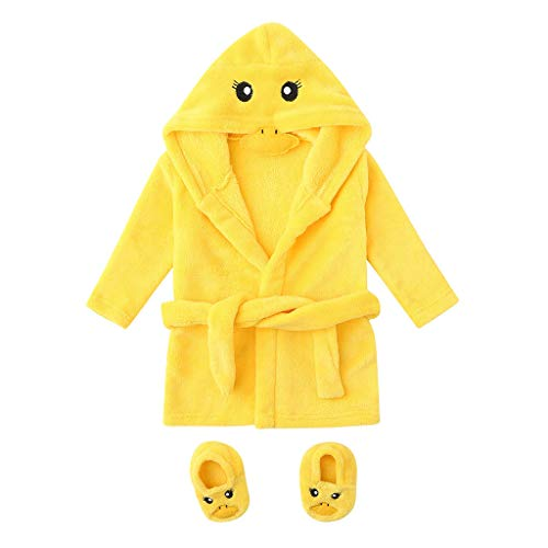 Bitriddis Infant Baby Boys Girls Cartoon Flannel Bathrobes, Hoodie Sleepwear+Footwear Outfits Newborn Bathing Suit (0-12M) Yellow