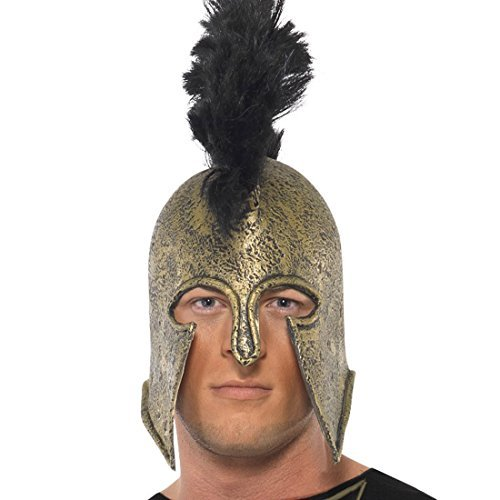 Achilles Römerhelm gold Spartaner Helm Soldatenhelm Römer Gladiator Kostüm (Achilles Krieger Kostüm)