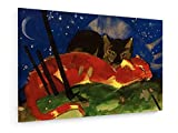 Franz Marc - Zwei Katzen - 1913-30x20 cm - Textil-Leinwandbild auf Keilrahmen - Wand-Bild - Kunst, Gemälde, Foto, Bild auf Leinwand - Alte Meister/Museum