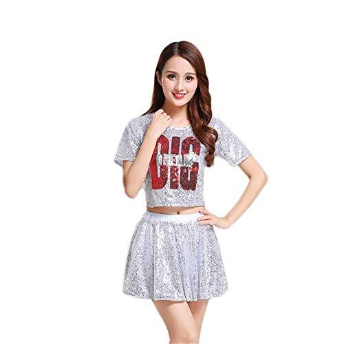 Dress Basketball Fancy Kostüm - MCO%SISTSR Cheerleader-Kostüm,Mädchen,Das Einheitliche Paillettenbesetzte Rockblusenfußball-Basketball-Highschool-Musikwettbewerbs-Tanzleistung Lehrt,Weiß,4XL