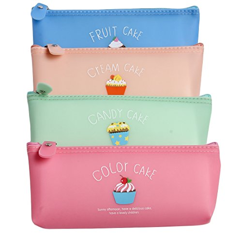 Uberlyfe Pencil Pouch For Kids -Perfect For Carry Pens/ Pencils/ Crayons/Makeup Brushes /Cosmetics/Gifts - Multi Color - Set Of 4 (PU-1674-Cake)