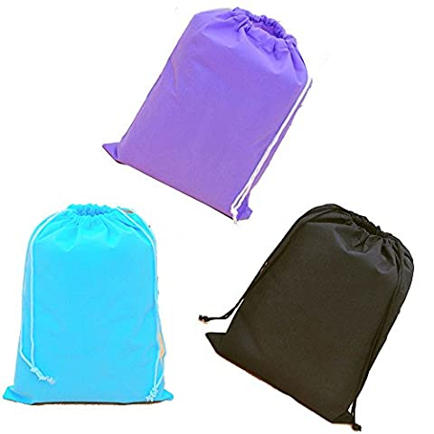 Set of 3 Large Drawstring Shoe or Laundry Travel Bag Organiser. Blue, Black, Purple.
