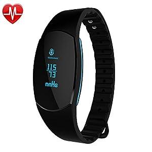 GanRiver Fitness Tracker Pulsmesser Wasserdicht Blutdruckmessung Herzfrequenz Schrittzähler Kalorienmonitor Sport Armband Erinnerung Smart Uhr Push-Message und Anrufer