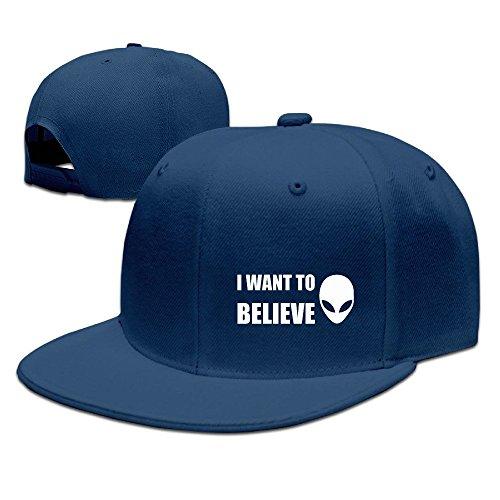 Nubia I Want a Believe Sunbonnet visera Cap gorra plana Bill sombrero negro -  Azul marino -