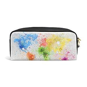 jstel mapa del mundo pintura escuela lápiz bolsa para bebés de los niños Niños Adolescentes soporte para bolígrafos de maquillaje bolsa mujer duradera gran capacidad bolsa de papelería