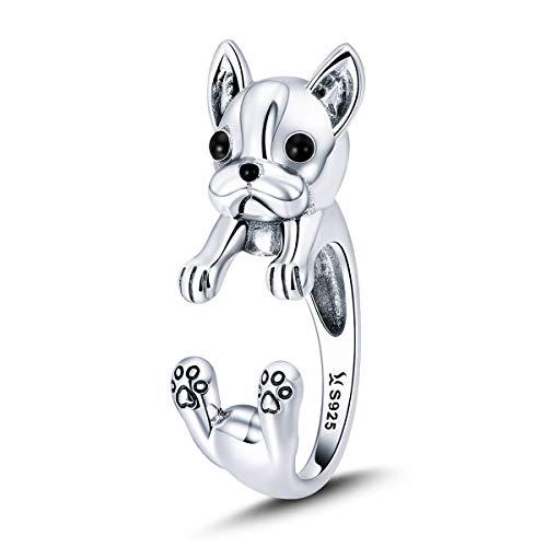 Anillo plata ley 925 diseño bulldog francés, mujer