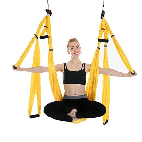 Indoor-antenne Fliege (Alger Anti-Schwerkraft Antenne Fliegen Hängematte Yoga Indoor Fallschirm Tuch Hängematte Keine Dehnung mit 6 Griffen, 250 * 150cm , yellow)