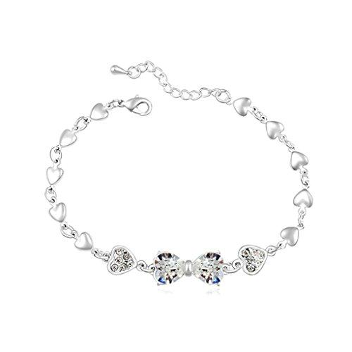 Aooaz placcato in oro bianco braccialetto per le donne, matrimonio bracciale a maglies CZ cristallo Zirconia cubica, cuore Bow bianca