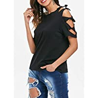 DRESSFO T-Shirts For Women, Black S