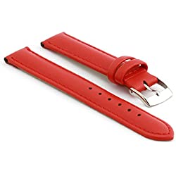 StrapsCo Extra Long Matte Red Genuine Leather Watch Strap size 26mm