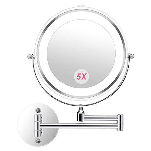 Athomestore Kosmetikspiegel mit LED Beleuchtung, Kosmetikspiegel beleuchtet wandmontage, vergrößerungsspiegel 1x/5xFach - 360° Horizontal Schwenkbar und Vertikal, Metall Verchromt - Vergrößerungsspiegel Licht Mit