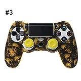 ATuniby Silikonh¨¹lle f¨¹r PS4 Controller Sch?delmuster mit 2 Joystickkappen f¨¹r Gamer M?nner Weihnachtsgeschenk (3)