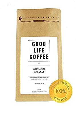 GOOD LIFE Monsoon Malabar Coffee ★ ROASTED TO ORDER ★ Enjoy rich uplifting luxury coffee, beautifully smooth with woody and spicy aromas ★ 100% HIGH QUALITY ARABICA COFFEE BEANS ★ Taste EXCEPTIONAL Roasted Coffee Delicious Fresh with Flavour ★ A