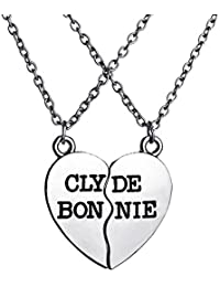 TBOP NECKLACE Explosions Clyde Bonnie Heart-shaped Alloy Pendant Necklace In Silver Black Color 3.0cm*3.2cm 20.0g