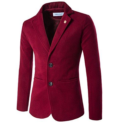 Veravant blazer homme fashion grande taille slim décontracté veste Bordeaux
